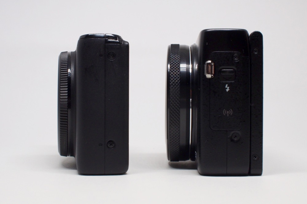 左S95、右G7X。G7Xは分厚い。